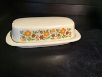 "Vintage McCoy Pottery Butter Dish/Lid Plaid Gingham Flowers daisy chain 7.5"" L"