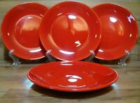 "SET OF 4 - CRATE & BARREL - GLOSSY RED SPECKLED - 8 5/8"" SALAD PLATES - BRAZIL"