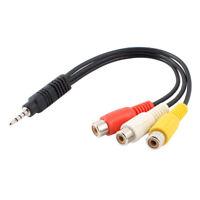 C47 2,5mm Klinkenstecker auf 3RCA Buchse AV Kabel Adapter Video Audio für TV DVD