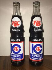 RC Cola Salutes Kentucky Colonels 16 Oz Glass Bottle Full 1974-75 LOT of 2
