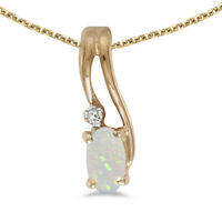 """10k Yellow Gold Oval Opal And Diamond Wave Pendant with 16"""" Chain"""