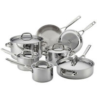 Anolon Tri-Ply Clad Stainless Steel 12-Piece Cookware Set in Silver