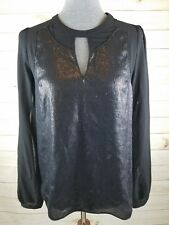 Esley Size Small Black Sheer Sequin Front Split Sleeve Keyhole Neckline Blouse