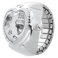 Silver Tone Quartz Heart Pocket Finger Ring Watch Z8Q8