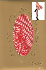 Stella Elyse Floral Hearts Fishnet Pantyhose (Queen, Red)