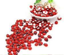100x Wooden Red Ladybird Ladybug Sticker Adhesive Garden Party Decorating Craft