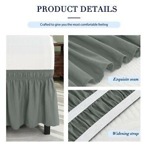 Subrtex Bed Skirt Elastic Elegant Wrap Ruffle Around Bed, GREY, FULL