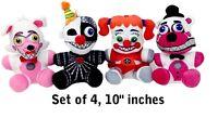"""10"""" FNAF Plush Toy Set of 4 (Ennard, Funtime Foxy, Funtime Freddy, Circus Baby)"""