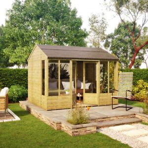 10 x 8 Pressure Treated Hobbyist Summerhouse with Long Windows OSB floor & Roof