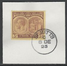 St Kitts 5465 - 1920 KG5 3d on piece with MADAME JOSEPH FORGED POSTMARK