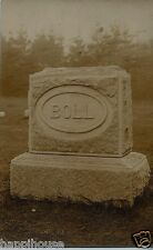 Headstone / Tombstone BOLL Antique Real Photo Postcard