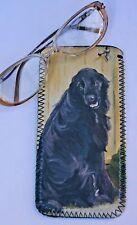 FLAT COATED RETRIEVER DOG NEOPRENE GLASS CASE POUCH  SANDRA COEN ARTIST PRINT