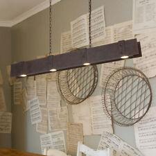 Industrial Rust Linear 4-Light LED Metal Island Pendant Light 110V Hanging Lamp