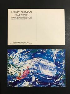 LeRoy Neiman Promotional Postcards Blue Whale Authentic Not A Reproduction