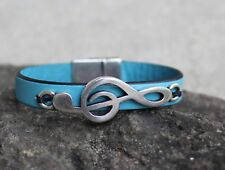 Turquoise Colored Leather With Silver Music Note Clef Bracelets USA