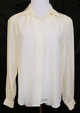 The Villager Shirt Button Front Blouse Ivory Off White Long Sleeve sz 10 Vintage