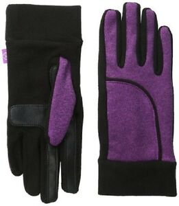Isotoner Women's Active Smartouch Vivid Viola Heathered Softshell Glove w/Fleece