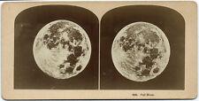 Photo stéréo la pleine  lune vers 1890 Full moon Kilburn Brother / Astronomie