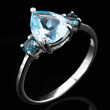 100% NATURAL 10X8MM SWISS BLUE TOPAZ & LONDON BLUE TOPAZ SILVER 925 RING SIZE 9