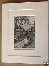 BERKHAMPSTEAD CANAL ANTIQUE DOUBLE MOUNTED ENGRAVING FROM c1890 PUBLICATION