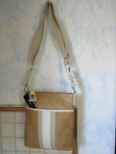 NEW WITH TAGS  ALFANI TAN & WHITE GENUINE LEATHER CROSS BODY PURSE