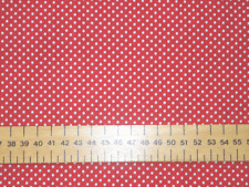 2mm WHITE PIN SPOTS ON POLY COTTON FABRIC - COLOURS - RED/ROYAL/PINK/TURQUOISE