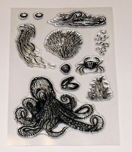 Octopus Clear Stamps  - Coral, Crab, Bubbles, Waves, Shells,Jellyfish - Free P&P