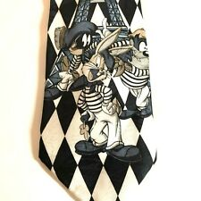 LOONEY TUNES CHARACTERS IN PARIS EIFFEL TOWER BLACK WHITE POLYESTER TIE NECKTIE