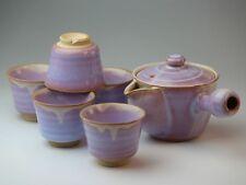 Japanese Yunomi Kyusu tea pot & cup set Hagi yaki Asagao Murasaki hagi