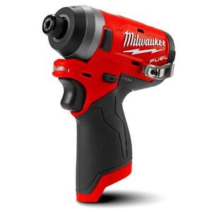 """Milwaukee M12FID-0 12V 2553-20 Cordless Fuel 1/4"""" Hex Impact Driver - Skin Only"""