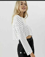 Wednesday's Girl Top Size XS 8 & M 12 Long Sleeve Cropped White  Spot Print ED21