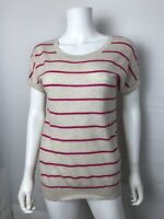 Theory Cashmere Blend Short Sleeve Ivory Pink Striped Sweater Top Sz TP XS READ