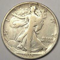1916-S Walking Liberty Half Dollar 50C Coin - Strong Details - Rare Date!