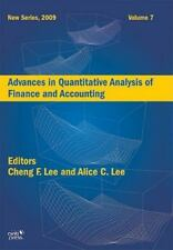Advances in Quantitative Analysis of Finance and Accounting by Cheng F. Lee...