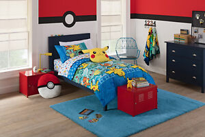 4 Pcs Twin Pokemon Bed in a Bag Kid Comforter Pillowcase Bedding Sheets Set NEW