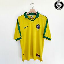 1997/98 BRAZIL Vintage Nike Home Football Shirt Jersey (M) Ronaldo Romario Era