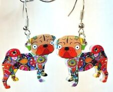 Pug Dog Pup Double-Sided Hook Dangle Earrings Floral Multicolor Acrylic Jewelry