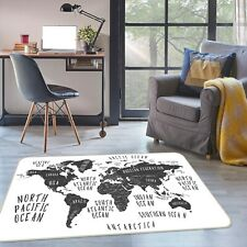 3D Black Puzzle ZHU357 World Map Non Slip Rug Mat Elegant Photo Carpet Amy