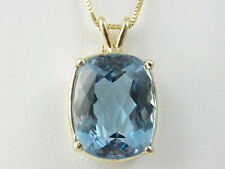 "Blue Topaz Necklace Yellow Gold 20"" Fine Jewelry Box 15.09ct Genuine 14K 10K"