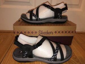 NEW Skechers Reggae Slim Vacay Black Women's Size 8 Sandals Ankle Strap 40955