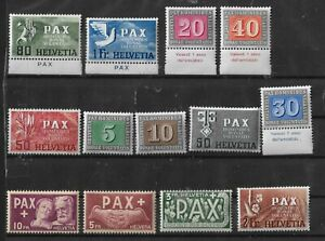 SWITZERLAND 1945 SET OF 13 STAMPS PAX SC# 293-305 MNH RARE CV$675.00