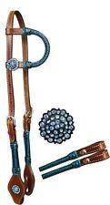 WESTERN HORSE SHOW BRIDLE HEADSTALL W/ 7' SPLIT REINS BLUE CRYSTAL RHINESTONES
