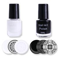 Weiß & Schwarz Stempellack Nagellack Nail Art Stamping Polish 5ml