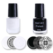 Weiß & Schwarz Stempellack Nagellack Nail Art Stamping Polish 3ml