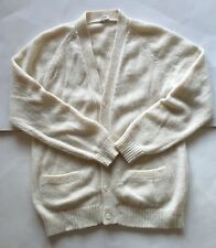 Alpaca Wool Cream Medium Knit Oversized Cardigan Alpatex Made in Peru Size M 14