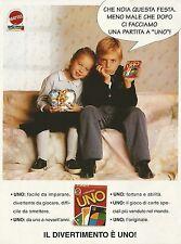 X2958 L'originale UNO - Mattel Games - Pubblicità 1995 - Advertising