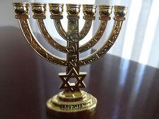NEW!,Brass ,Gold Plated,VINTAGE MENORAH,Jewish and Israel Symbol from Jerusalem