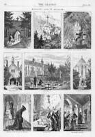 1872 Antique Print  - Monastic Life England Cemetery Cross Refrectory   (252)
