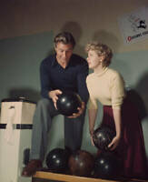 American Actors Lex Barker And Shelley Winters At A Bowling Alley OLD PHOTO