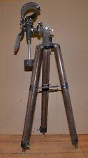 Vintage wood & metal tripod telescope holder nautical spy scope stand tool